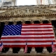 New York Stock Exchange with American Flag