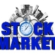 stock market sign with clock