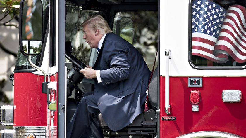 Trump on a Fire Truck